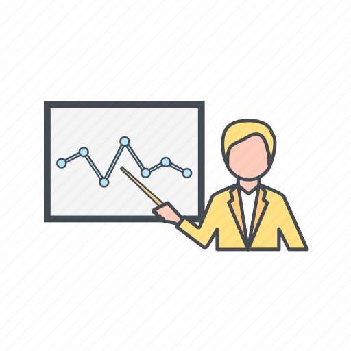 analysis, graph, lecture, presentation icon
