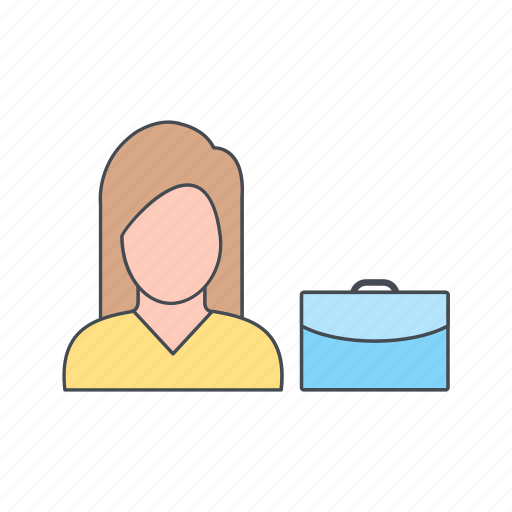 bag, briefcase, woman with briefcase icon