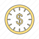 clock, money, time is money icon