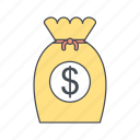 finance, investment, money, sack icon