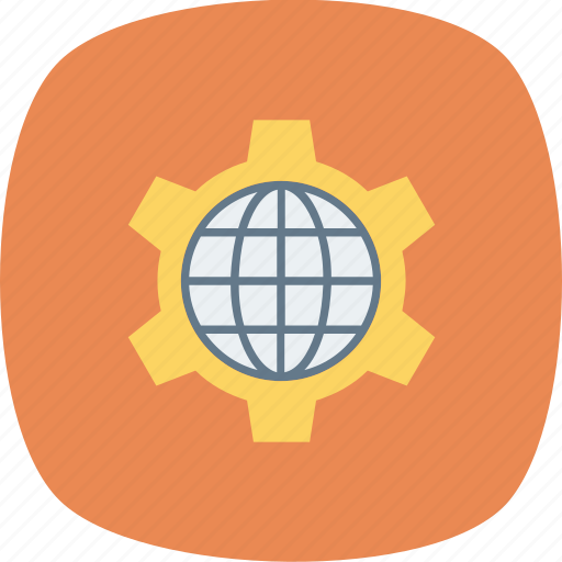 browser, cog, globe, internet, setting, wheel, world icon icon