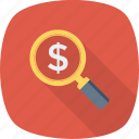 dollar, money, profit, search icon icon