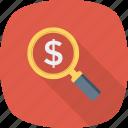 dollar, money, profit, search icon
