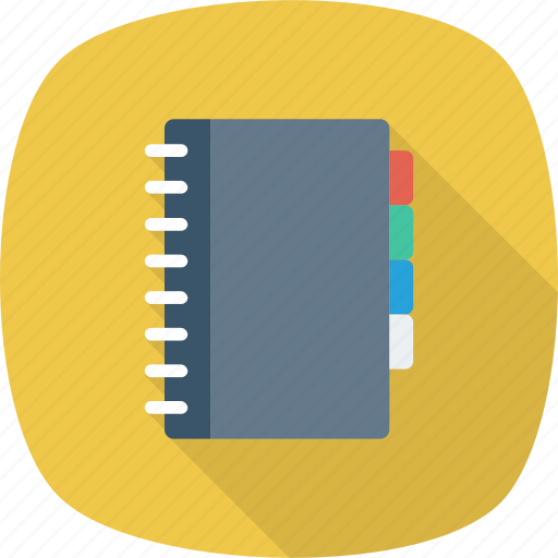book, contacts, documents, folder, label, phone icon icon