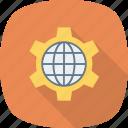 browser, cog, globe, internet, setting, wheel, world icon