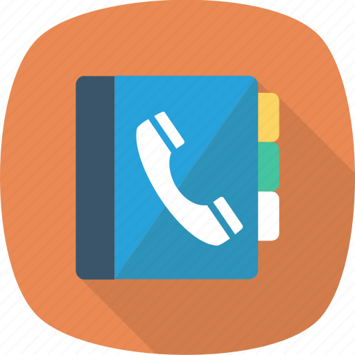book, contacts, library, phone icon icon