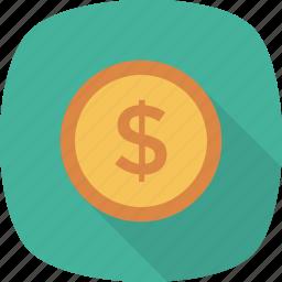 coin, dollar, finance, money icon icon