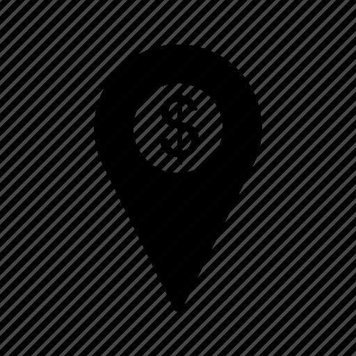 dollar, location, marketing icon