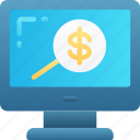 audit, business, financial, money, research, search icon
