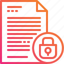 document, file, gradient, lock, paper, secret icon