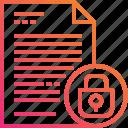 document, file, gradient, lock, paper, secret icon