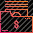 banknote, document, dollar, folder, gradient, management, money icon