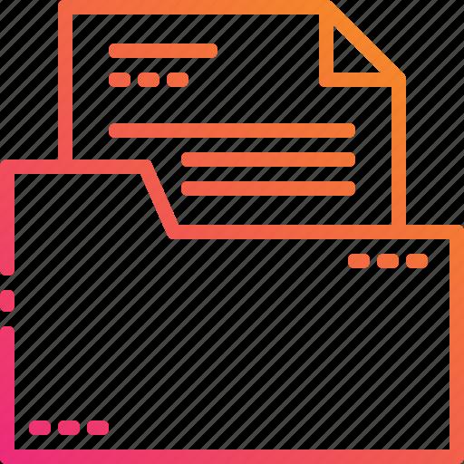 document, file, folder, gradient, management, paper icon