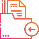 arrow, document, files, folder, management, paper icon