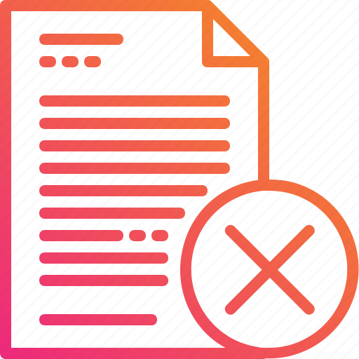 delete, document, exit, file, gradient, paper, wrong icon