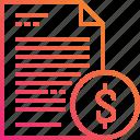 document, dollar, file, gradient, money, paper icon