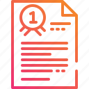 award, document, file, gradient, paper, prize, ribbon icon
