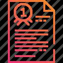award, document, file, gradient, paper, prize, ribbon icon