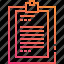 document, gradient, list, paper, report icon