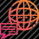 bubble, communication, globe, gradient, word, world, worldwide icon