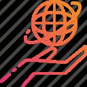 control, globe, gradient, hand, world icon