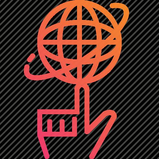 control, finger, globe, gradient, hand, rotate, world icon