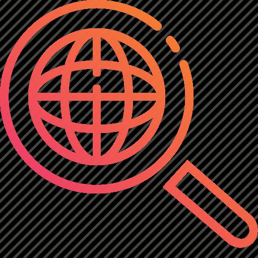 control, globe, gradient, magnify, search, world icon
