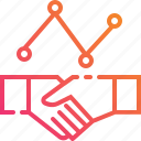 benefit, business, graph, hand, partner, shaking, support icon
