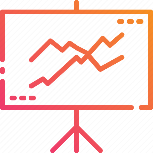 business, graph, presentation, projector, screen, trading, whiteboard icon