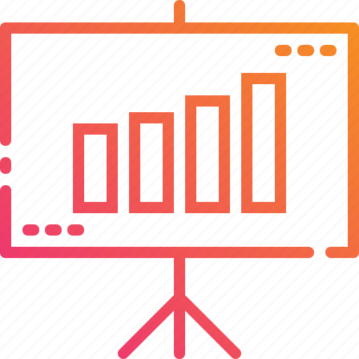 business, graph, growth, presentation, projector, screen, whiteboard icon