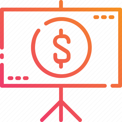 business, curency, money, presentation, projector, screen, whiteboard icon