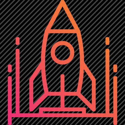 business, gradient, lunch, rocket, spaceship, startup icon