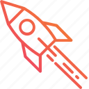 business, fly, gradient, lunch, rocket, spaceship, startup icon