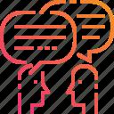 bubble, couple, gradient, massage, people, speak, talk icon