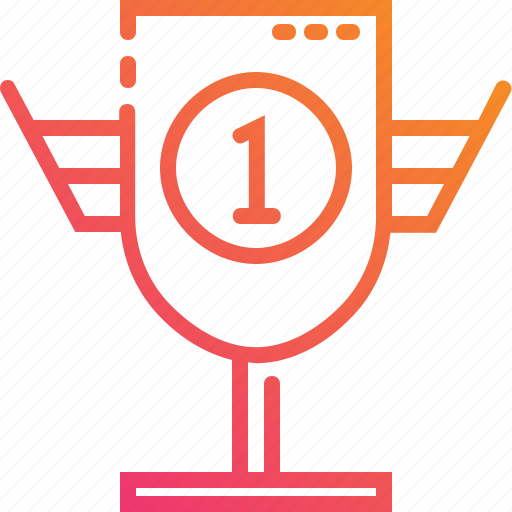 gradient, one, success, trophy, win, winner icon