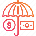coin, finance, money, safe, save, security, umbella icon