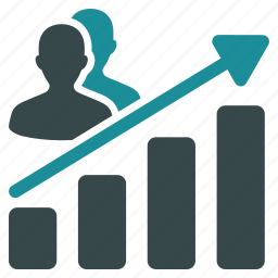 analytics, arrow, chart, clients, leads, statistics, trend icon