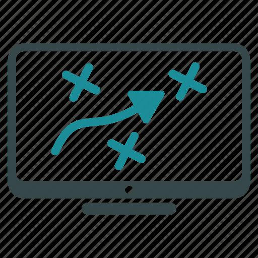display, marketing, path, plan, play, strategy, target icon