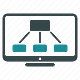 display, graph, hierarchy, monitor, object, project, structure icon