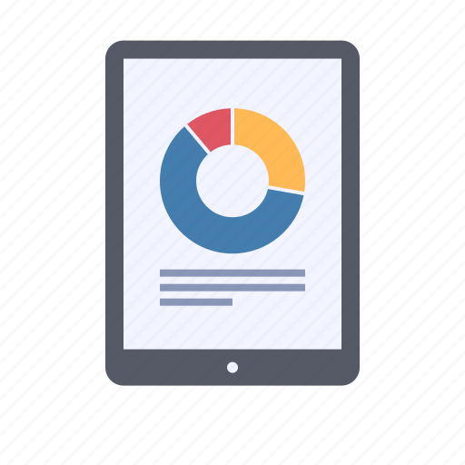data, pie chart, report, tablet icon
