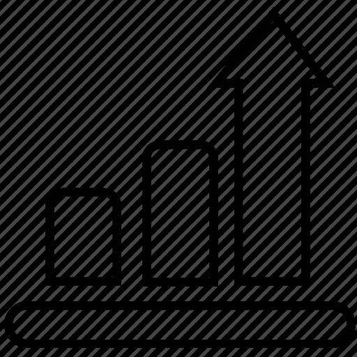 analytics, arrow, bar, business, chart, graph, growth, increase icon