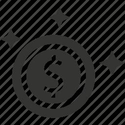 cash, coin, dollar, gold coin icon
