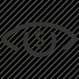 dollar, eye, finance, money icon