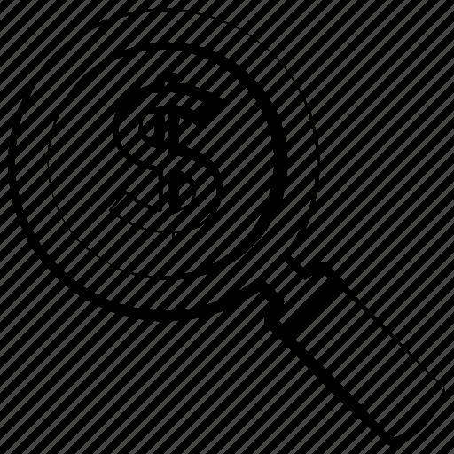 dollar, money, profit, search icon icon