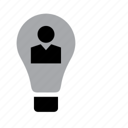 bulb, business, businessman, idea, job, light, work icon
