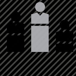 business, businessman, job, man, podium, work, worker icon