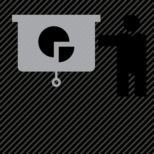 blackboard, business, chart, graph, job, presentation, teacher icon