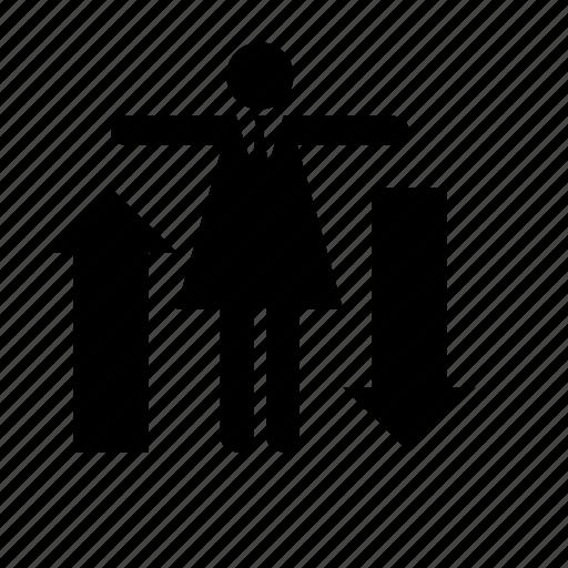 arrow, business, businesswoman, human, management, resources icon