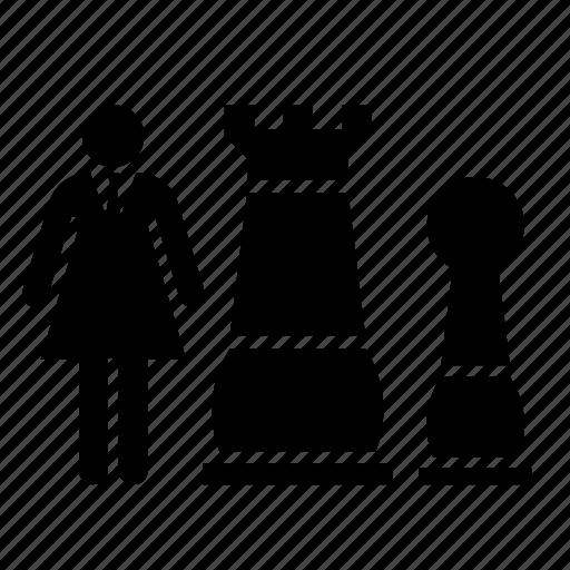 business, businesswoman, chess, human resources, job, piece, work icon