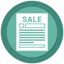 ad, adverb, message, paper, sale icon